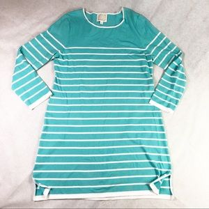 Sail to Sable knit dress long sleeve aqua striped